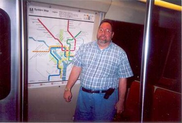 Mike Hammond on a Washington DC METRO train